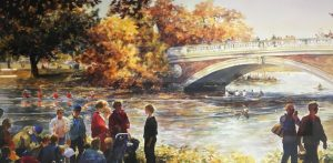 Painting of Head of the Charles rowing event.